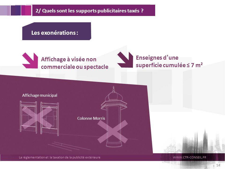 La réglementation et la taxation de la publicité extérieureWWW.CTR-CONSEIL.FR 14 2/ Quels sont les supports publicitaires taxés ? Affichage à visée no