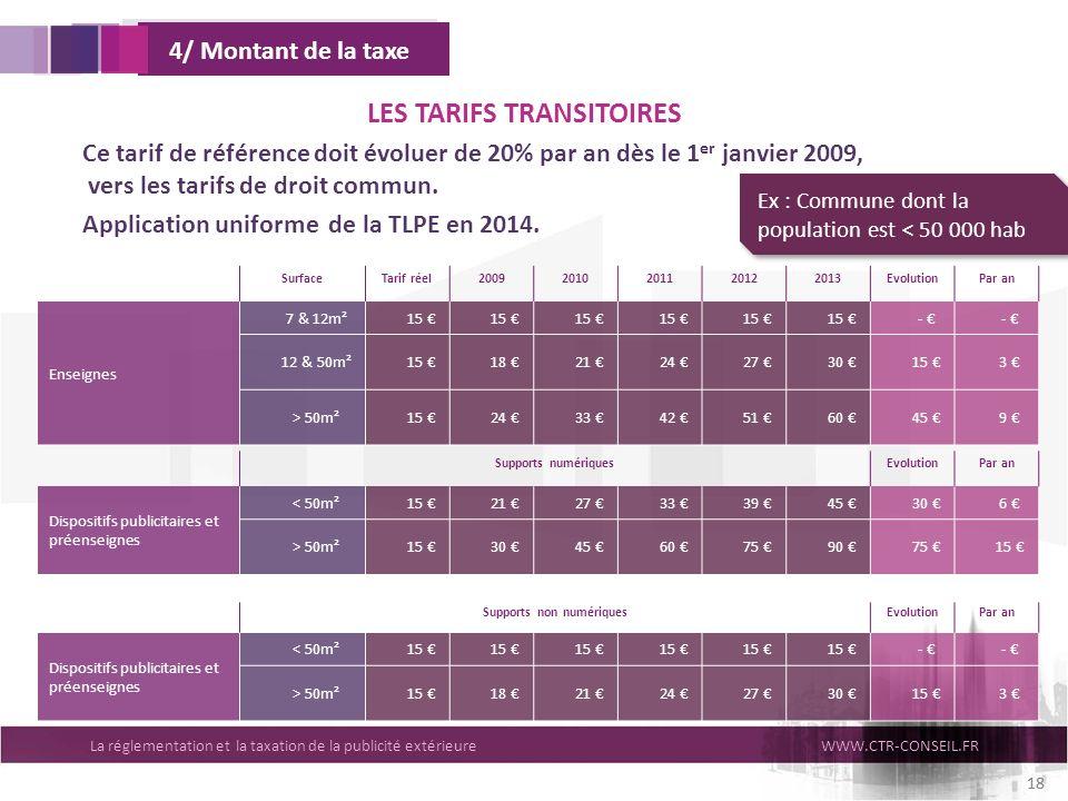 La réglementation et la taxation de la publicité extérieureWWW.CTR-CONSEIL.FR 18 SurfaceTarif réel20092010201120122013EvolutionPar an Enseignes 7 & 12