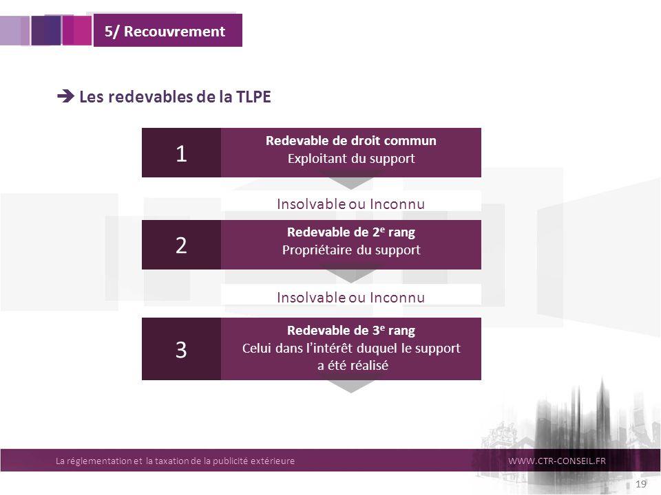 La réglementation et la taxation de la publicité extérieureWWW.CTR-CONSEIL.FR 19 5/ Recouvrement Les redevables de la TLPE Redevable de droit commun E
