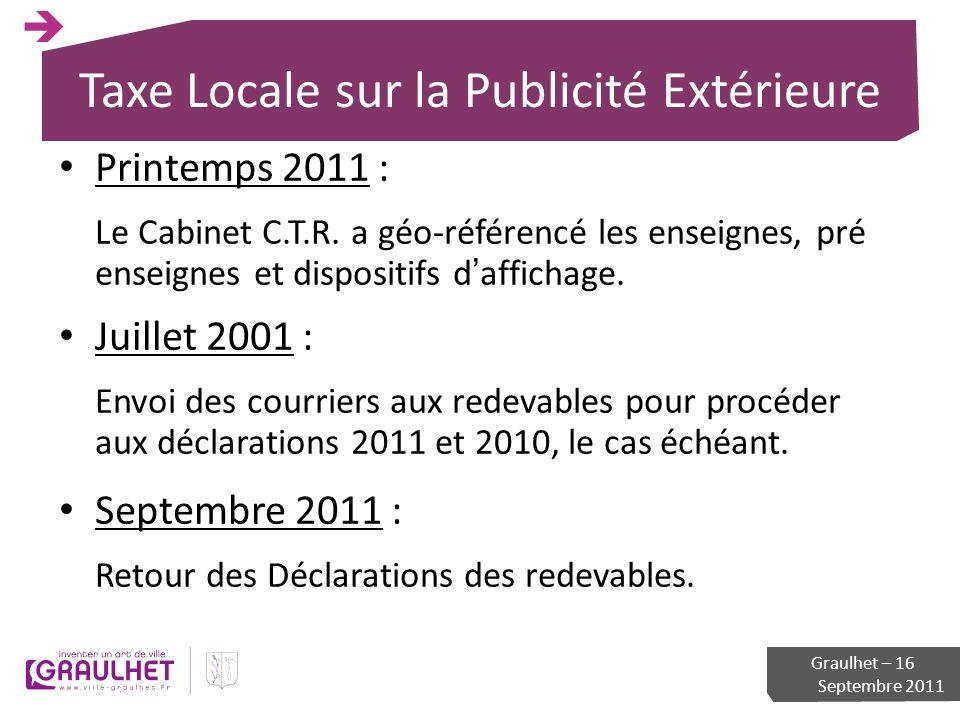 Taxe Locale sur la Publicité Extérieure Printemps 2011 : Le Cabinet C.T.R. a géo-référencé les enseignes, pré enseignes et dispositifs daffichage. Jui