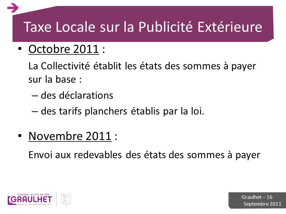 Taxe Locale sur la Publicité Extérieure Octobre 2011 : La Collectivité établit les états des sommes à payer sur la base : – des déclarations – des tar