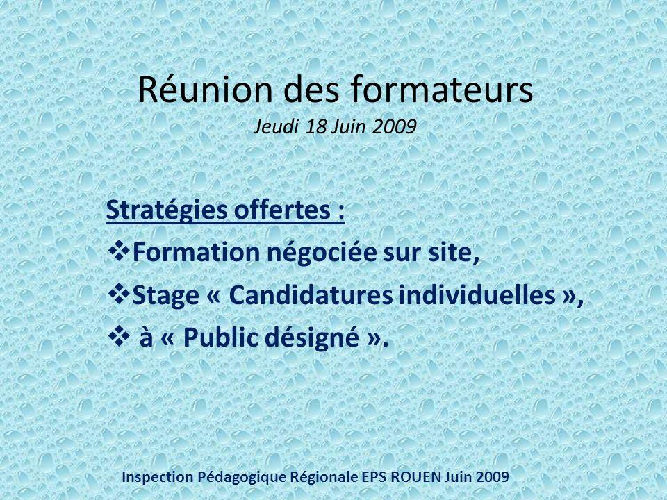 Réunion des formateurs Jeudi 18 Juin 2009 Stratégies offertes : Formation négociée sur site, Stage « Candidatures individuelles », à « Public désigné ».