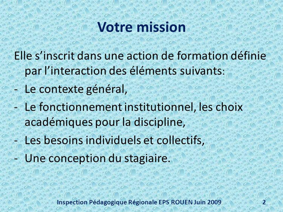 Votre mission Elle sinscrit dans une action de formation définie par linteraction des éléments suivants : -Le contexte général, -Le fonctionnement ins