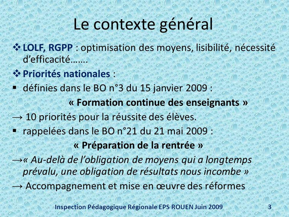 Le contexte général LOLF, RGPP : optimisation des moyens, lisibilité, nécessité defficacité……. Priorités nationales : définies dans le BO n°3 du 15 ja