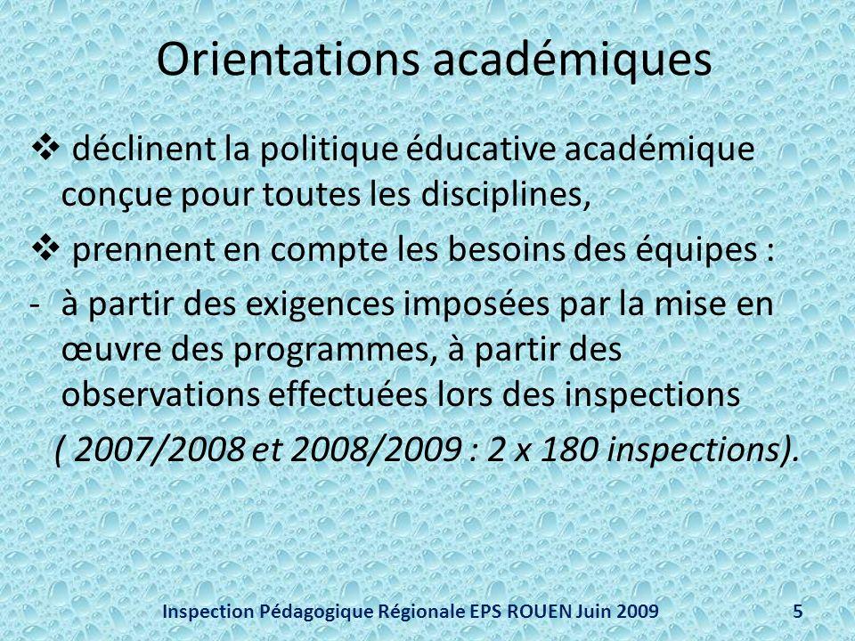 Orientations académiques déclinent la politique éducative académique conçue pour toutes les disciplines, prennent en compte les besoins des équipes : -à partir des exigences imposées par la mise en œuvre des programmes, à partir des observations effectuées lors des inspections ( 2007/2008 et 2008/2009 : 2 x 180 inspections).