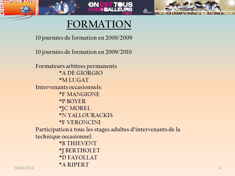 30/04/20144 FORMATION 10 journées de formation en 2008/2009 10 journées de formation en 2009/2010 Formateurs arbitres permanents *A DE GIORGIO *M LUGA