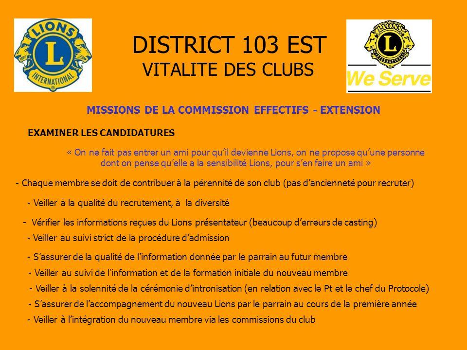 DISTRICT 103 EST VITALITE DES CLUBS MISSIONS DE LA COMMISSION EFFECTIFS - EXTENSION EXAMINER LES CANDIDATURES « On ne fait pas entrer un ami pour quil
