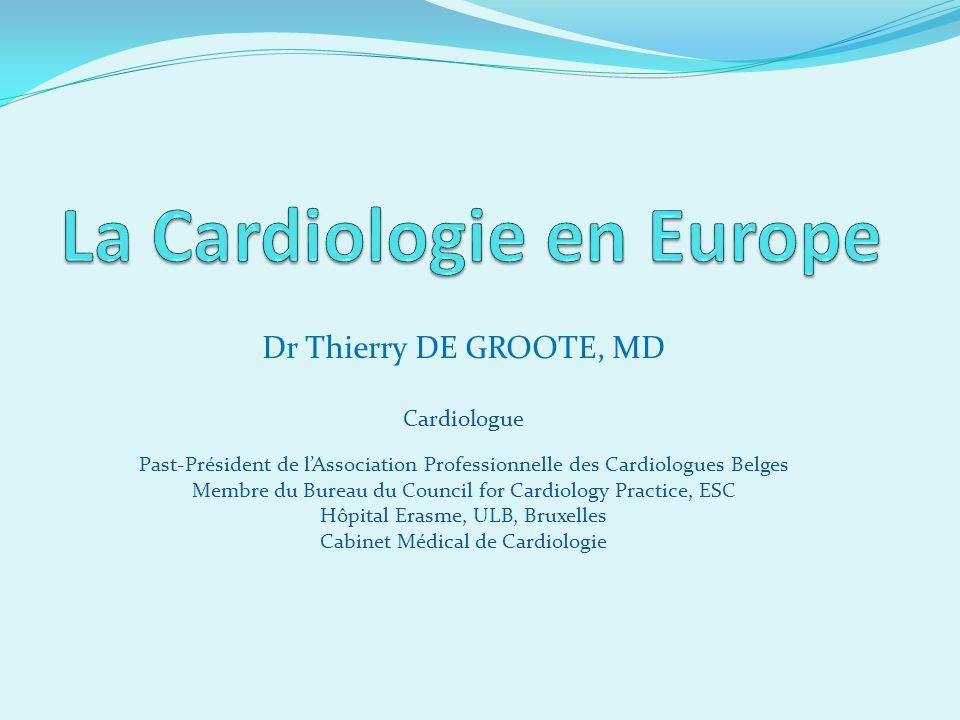 Dr Thierry DE GROOTE, MD Cardiologue Past-Président de lAssociation Professionnelle des Cardiologues Belges Membre du Bureau du Council for Cardiology Practice, ESC Hôpital Erasme, ULB, Bruxelles Cabinet Médical de Cardiologie