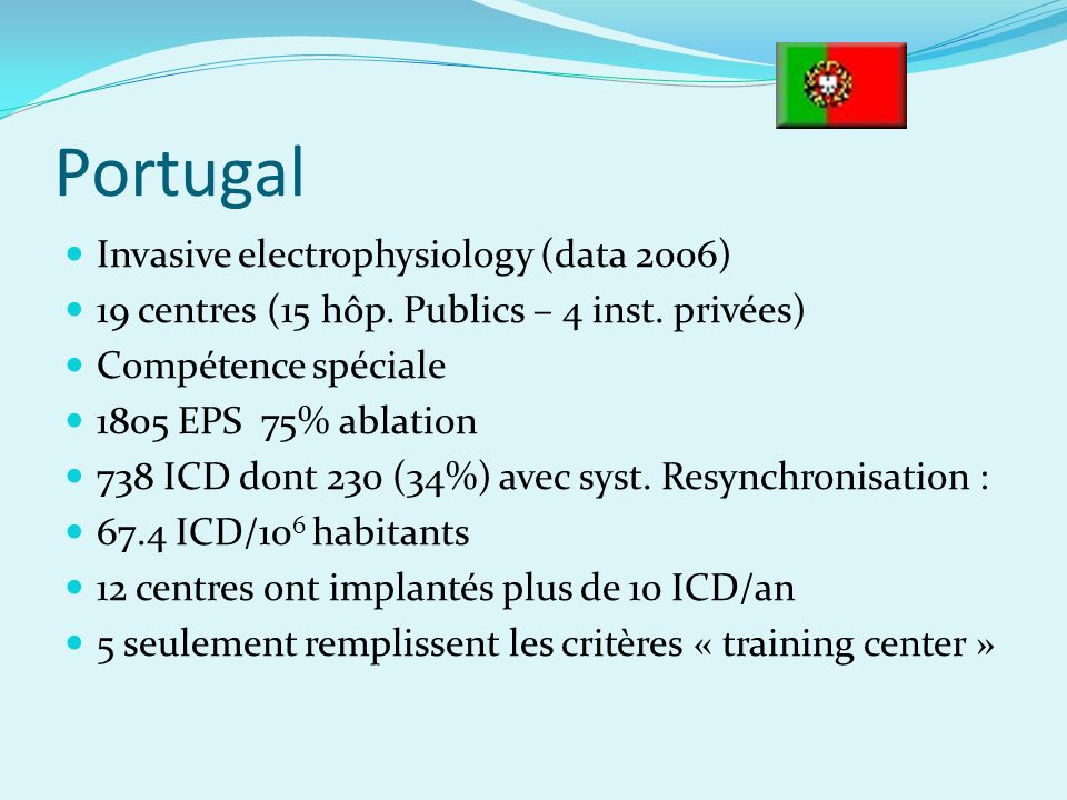 Portugal Invasive electrophysiology (data 2006) 19 centres (15 hôp.
