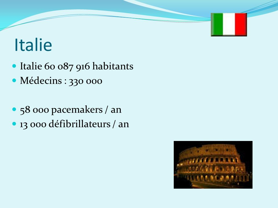 Italie Italie 60 087 916 habitants Médecins : 330 000 58 000 pacemakers / an 13 000 défibrillateurs / an