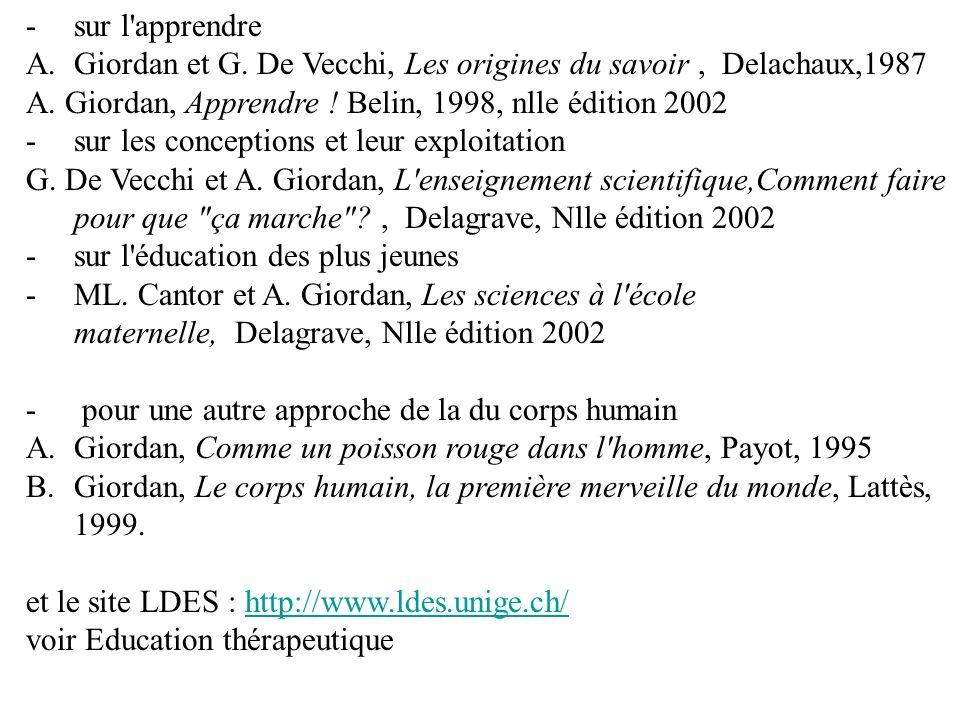 -sur l apprendre A.Giordan et G.De Vecchi, Les origines du savoir, Delachaux,1987 A.