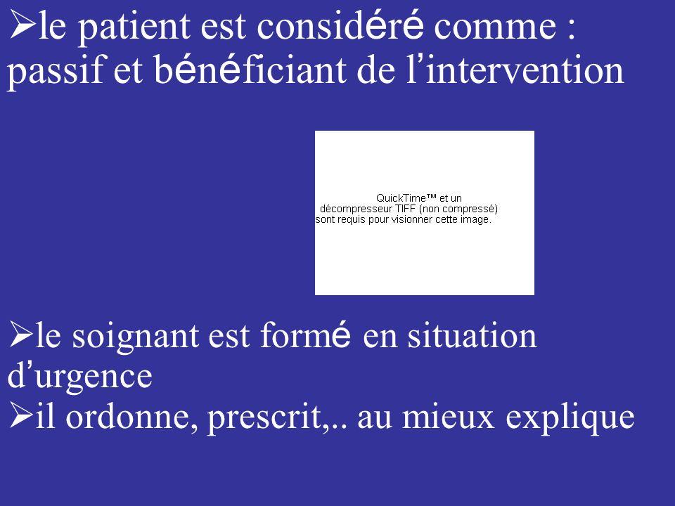 le patient est consid é r é comme : passif et b é n é ficiant de l intervention le soignant est form é en situation d urgence il ordonne, prescrit,..