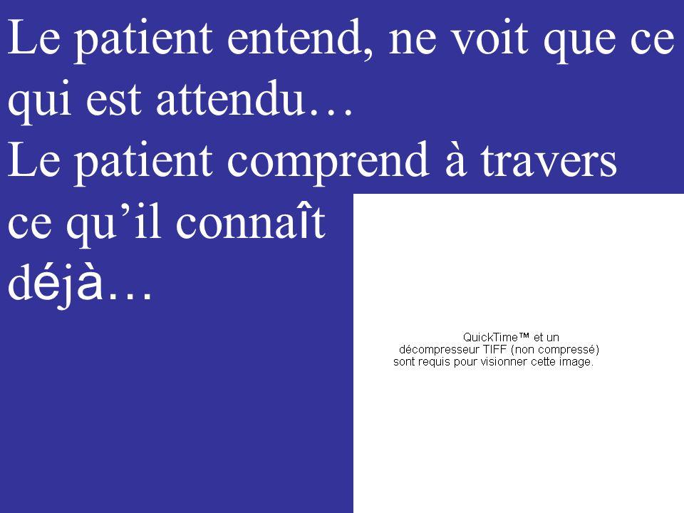 Comment entrer dans lunivers du patient ? écoute/dialogue/activité … pas seulement ev. le transformer…