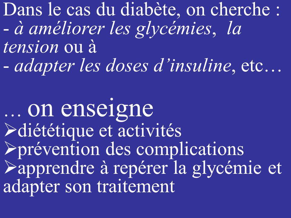 Dans le cas du diabète, on cherche : - à améliorer les glycémies, la tension ou à - adapter les doses dinsuline, etc… … on enseigne diététique et activités prévention des complications apprendre à repérer la glycémie et adapter son traitement