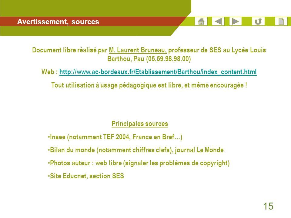 15 Avertissement, sources Principales sources Insee (notamment TEF 2004, France en Bref…) Bilan du monde (notamment chiffres clefs), journal Le Monde