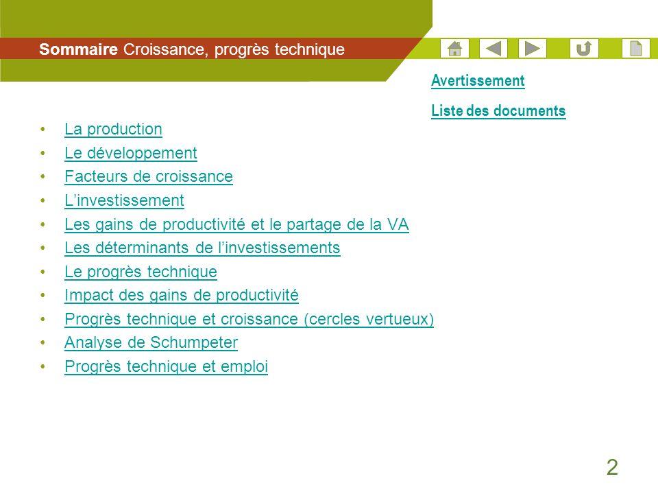 2 La production Le développement Facteurs de croissance Linvestissement Les gains de productivité et le partage de la VA Les déterminants de linvestis