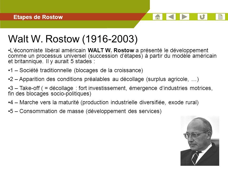 40 Etapes de Rostow Walt W. Rostow (1916-2003) Léconomiste libéral américain WALT W. Rostow a présenté le développement comme un processus universel (
