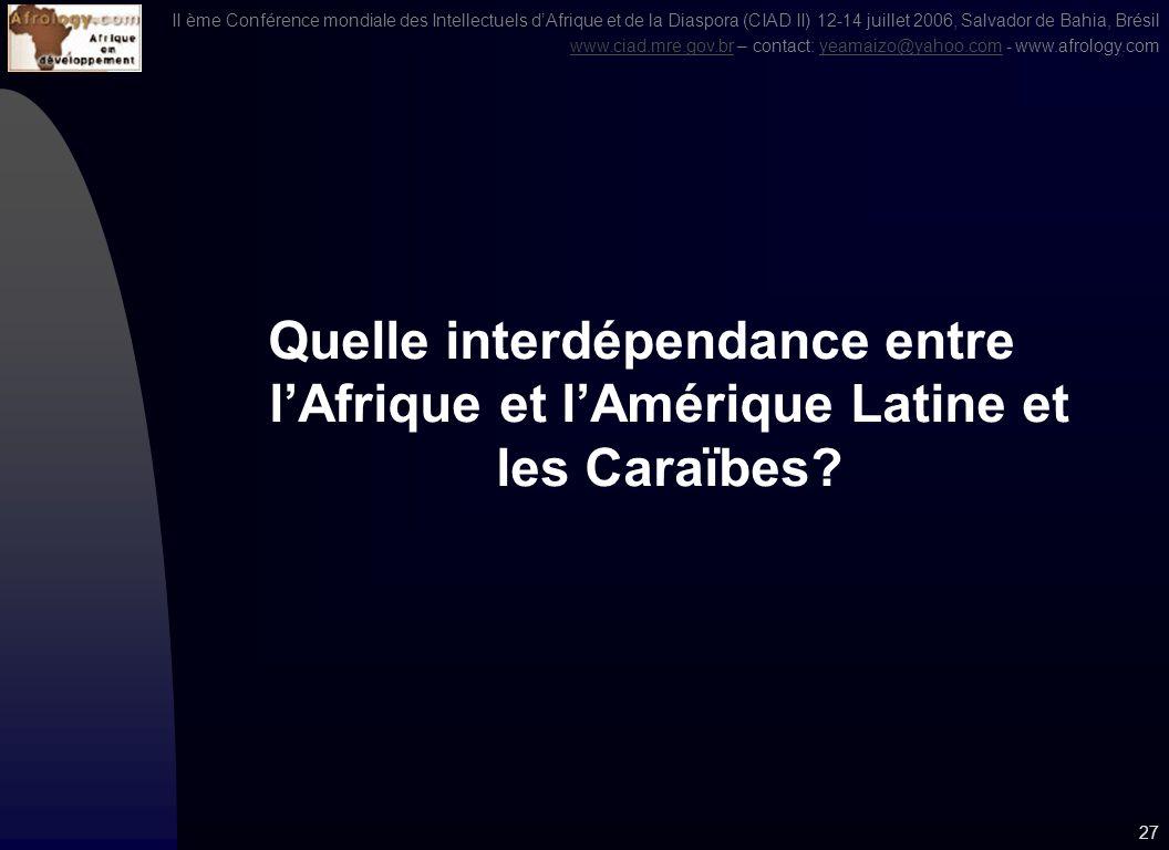 II ème Conférence mondiale des Intellectuels dAfrique et de la Diaspora (CIAD II) 12-14 juillet 2006, Salvador de Bahia, Brésil www.ciad.mre.gov.brwww.ciad.mre.gov.br – contact: yeamaizo@yahoo.com - www.afrology.comyeamaizo@yahoo.com 26 3.