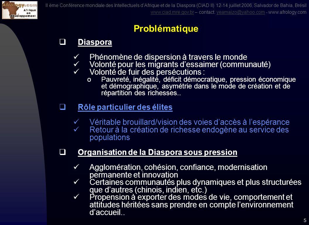 II ème Conférence mondiale des Intellectuels dAfrique et de la Diaspora (CIAD II) 12-14 juillet 2006, Salvador de Bahia, Brésil www.ciad.mre.gov.brwww.ciad.mre.gov.br – contact: yeamaizo@yahoo.com - www.afrology.comyeamaizo@yahoo.com 4 1.