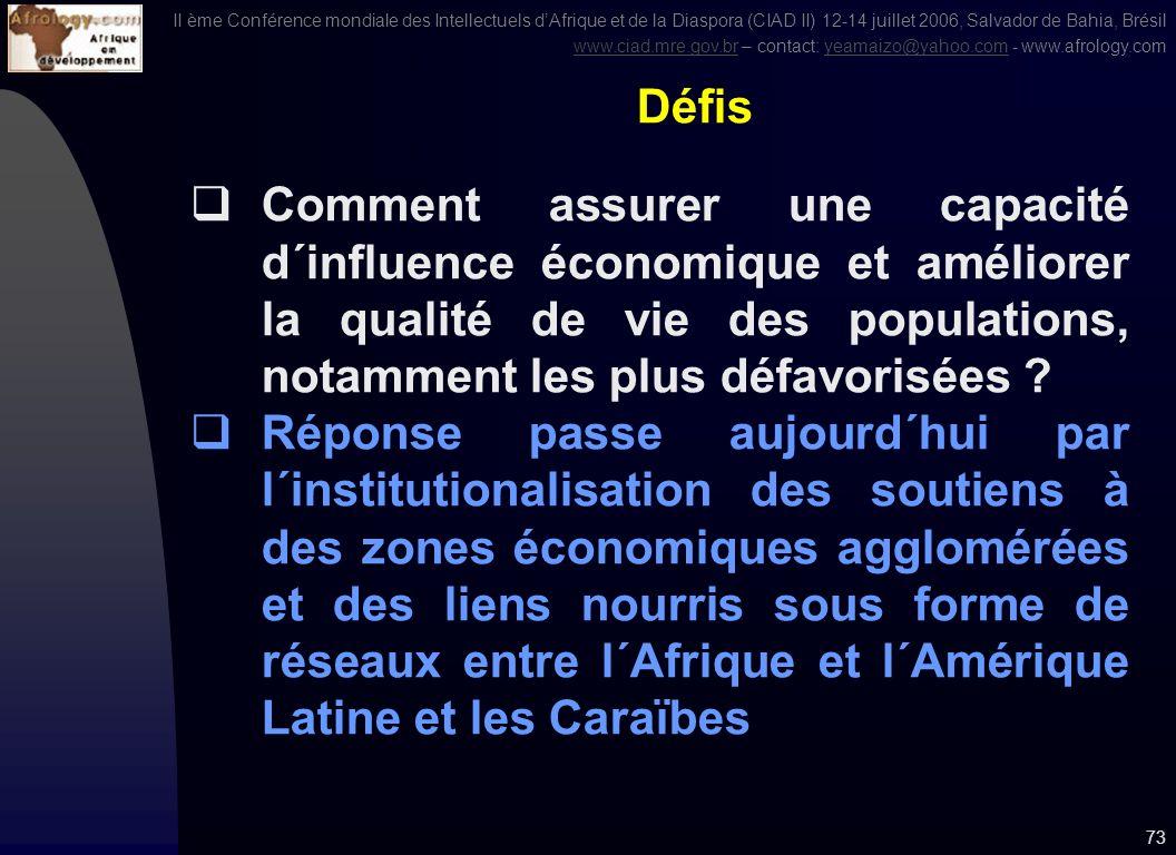 II ème Conférence mondiale des Intellectuels dAfrique et de la Diaspora (CIAD II) 12-14 juillet 2006, Salvador de Bahia, Brésil www.ciad.mre.gov.brwww.ciad.mre.gov.br – contact: yeamaizo@yahoo.com - www.afrology.comyeamaizo@yahoo.com 72 Vision claire 1.Co-développement et développement interrégional régional basé sur la gouvernance de la compétitivité et des approches innovantes 2.Complémentarité à lintérieur des frontières et dans des espaces transfrontières ou pays frontières 3.Renforcer les liens entre Centre du savoir et le secteur privé (liens entre centres du savoir et entreprises) et les intégrer dans les espaces économique agglomérés 4.Liens productifs des réservoirs du savoir (notamment ceux de la Diaspora) 5.Lier Apprentissage et emploi 6.Mettre en place un système de Diaspora, ou à défaut un visa Diaspora (Mise en œuvre au Ghana, objectif: pardon, guérison et réconciliation – 23 août 2007)