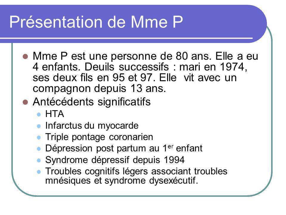 Présentation de Mme P Mme P est une personne de 80 ans.