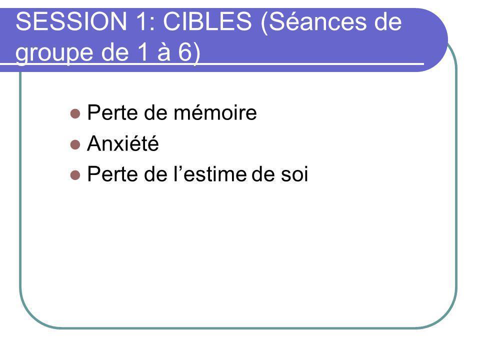SESSION 1: CIBLES (Séances de groupe de 1 à 6) Perte de mémoire Anxiété Perte de lestime de soi