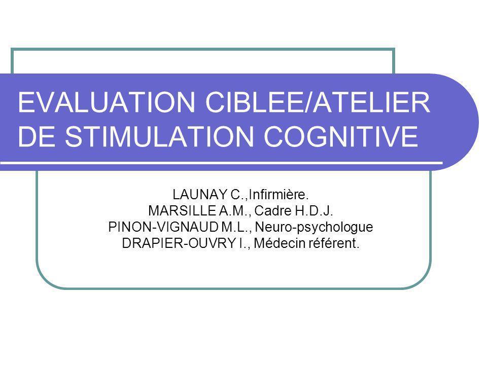 EVOLUTION DE LA PRISE EN CHARGE Mme P a suivi 3 sessions de latelier de stimulation cognitive avec un arrêt momentané pour des problèmes de santé.