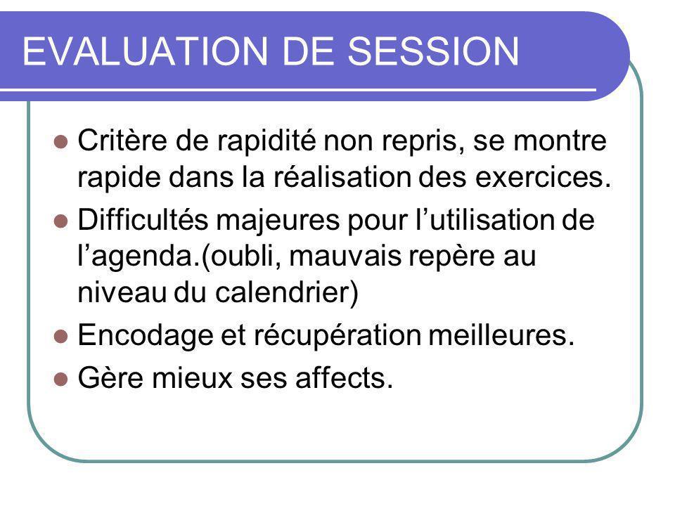 EVALUATION DE SESSION Critère de rapidité non repris, se montre rapide dans la réalisation des exercices.