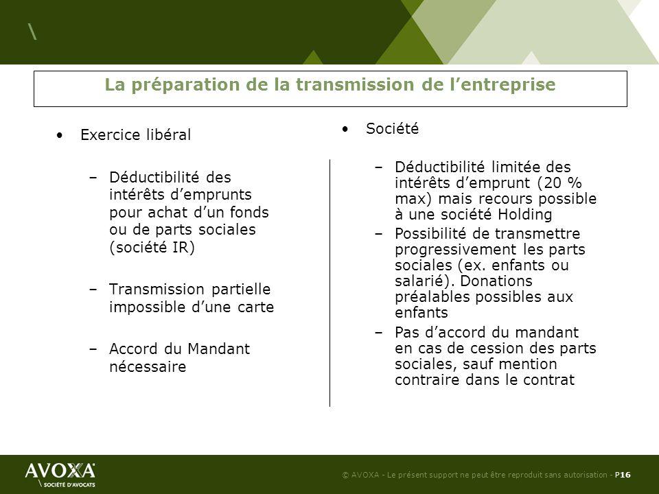 © AVOXA - Le présent support ne peut être reproduit sans autorisation - P17 \ Passage en SARL Modalités pratiques