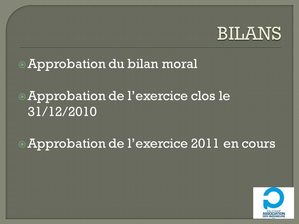 Approbation du bilan moral Approbation de lexercice clos le 31/12/2010 Approbation de lexercice 2011 en cours
