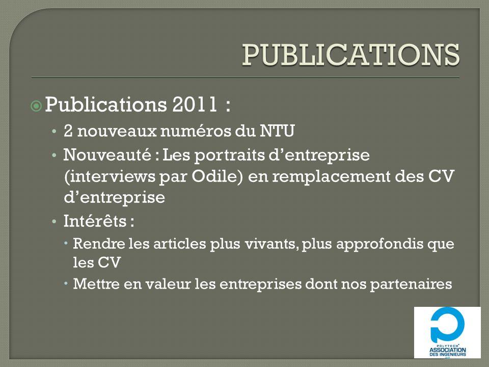 Publications 2011 : 2 nouveaux numéros du NTU Nouveauté : Les portraits dentreprise (interviews par Odile) en remplacement des CV dentreprise Intérêts