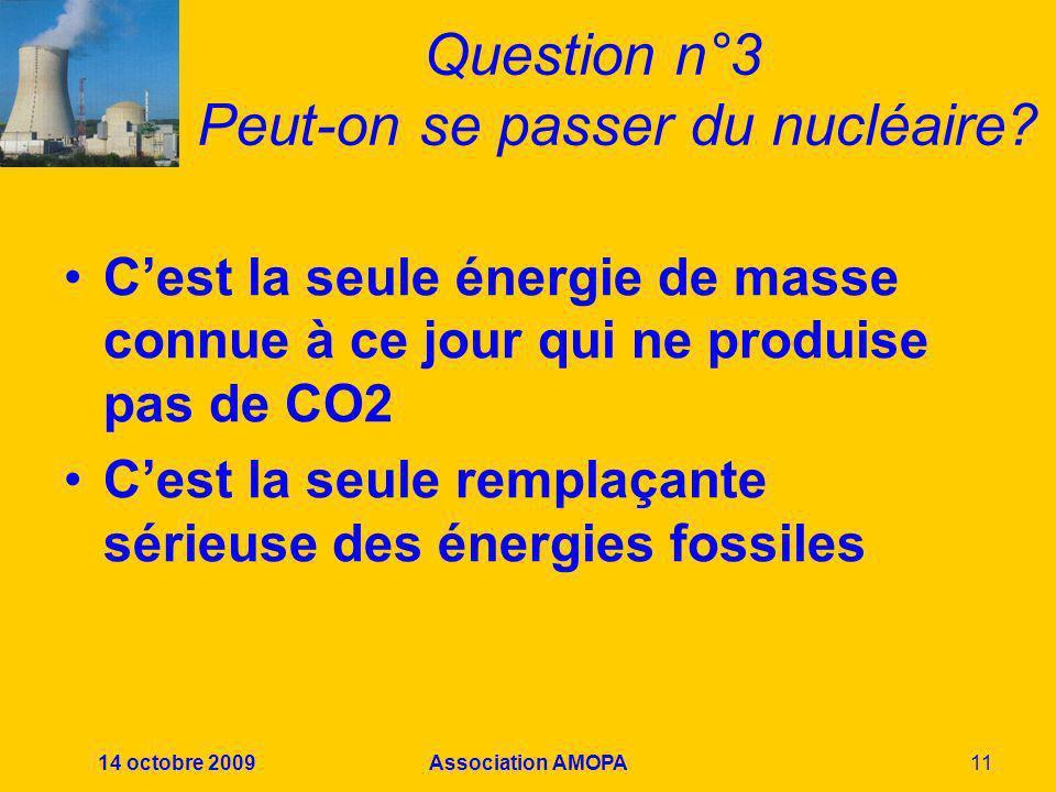 14 octobre 2009Association AMOPA11 Question n°3 Peut-on se passer du nucléaire? Cest la seule énergie de masse connue à ce jour qui ne produise pas de