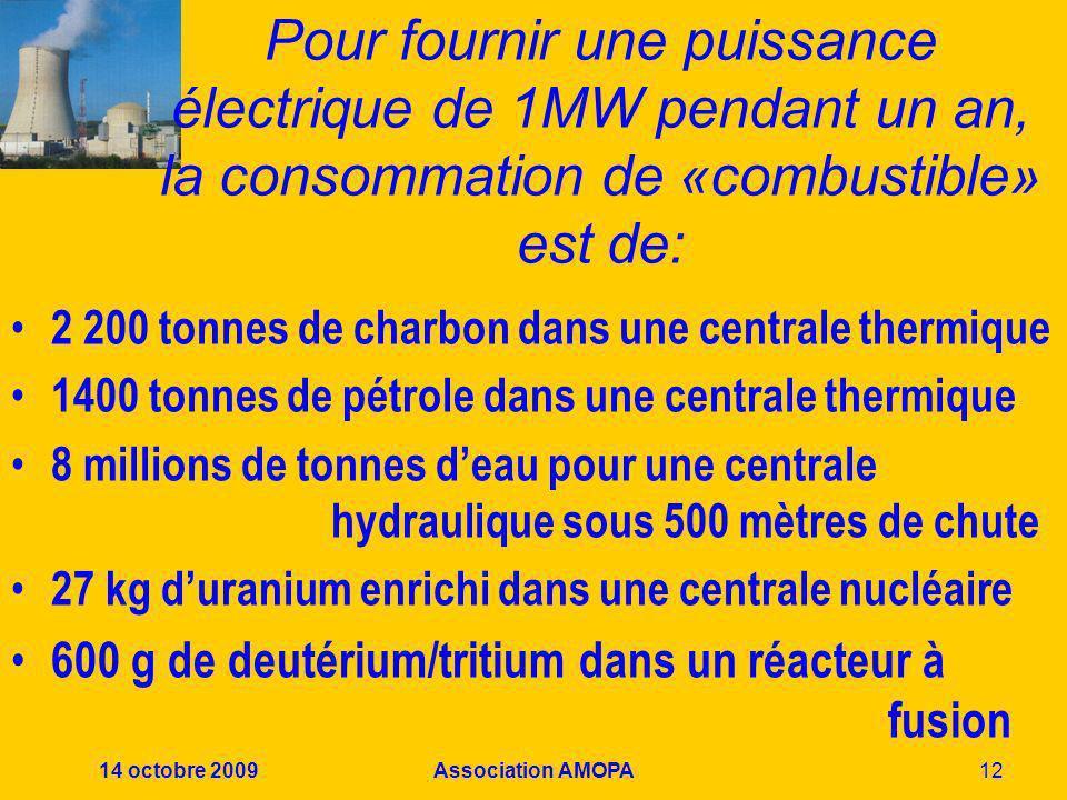 14 octobre 2009Association AMOPA12 Pour fournir une puissance électrique de 1MW pendant un an, la consommation de «combustible» est de: 2 200 tonnes d