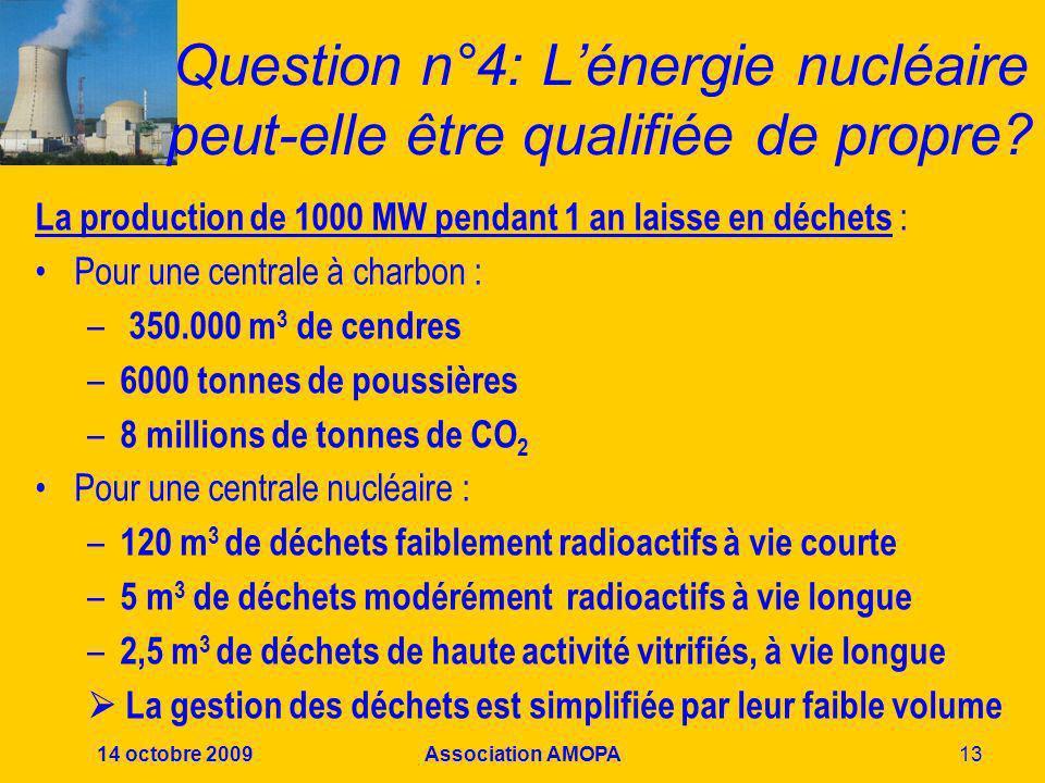 14 octobre 2009Association AMOPA13 Question n°4: Lénergie nucléaire peut-elle être qualifiée de propre? La production de 1000 MW pendant 1 an laisse e