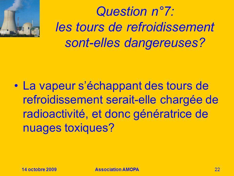 14 octobre 2009Association AMOPA22 Question n°7: les tours de refroidissement sont-elles dangereuses? La vapeur séchappant des tours de refroidissemen