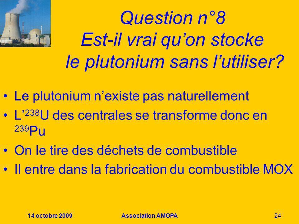 14 octobre 2009Association AMOPA24 Question n°8 Est-il vrai quon stocke le plutonium sans lutiliser? Le plutonium nexiste pas naturellement L 238 U de