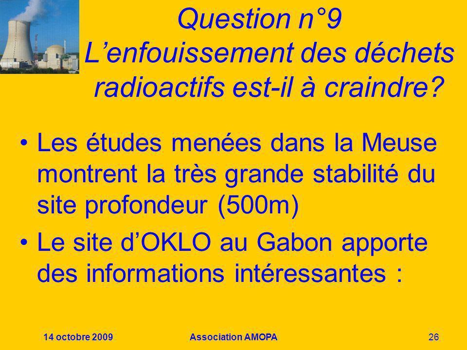 14 octobre 2009Association AMOPA26 Question n°9 Lenfouissement des déchets radioactifs est-il à craindre? Les études menées dans la Meuse montrent la