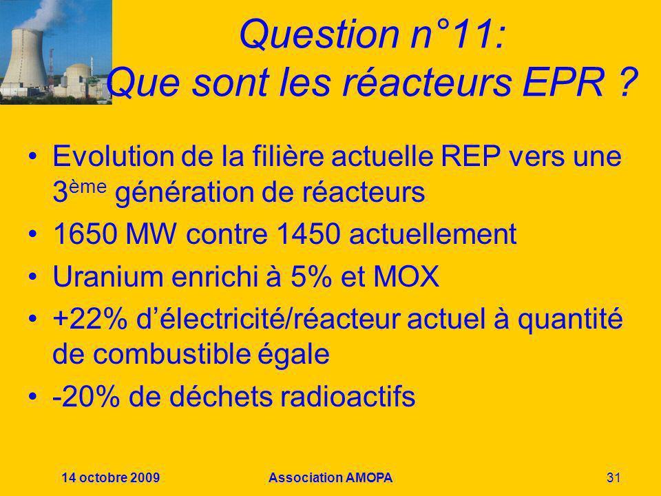 14 octobre 2009Association AMOPA31 Question n°11: Que sont les réacteurs EPR ? Evolution de la filière actuelle REP vers une 3 ème génération de réact