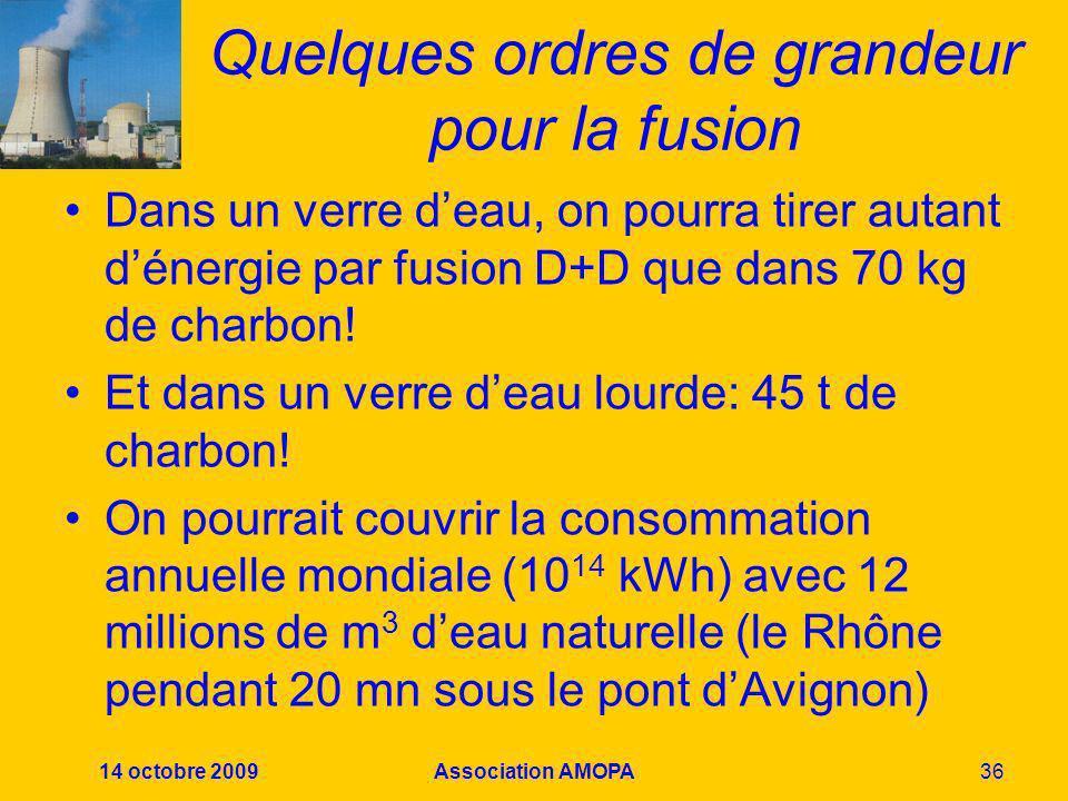 14 octobre 2009Association AMOPA36 Quelques ordres de grandeur pour la fusion Dans un verre deau, on pourra tirer autant dénergie par fusion D+D que d