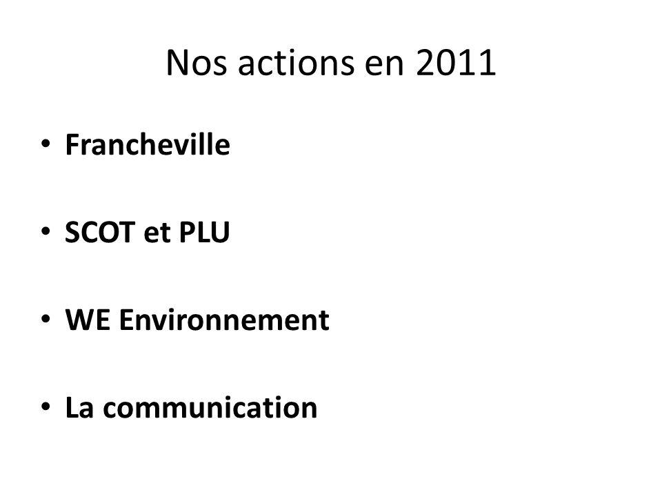 Nos actions en 2010 Francheville Plan de référence Budget pluri annuel