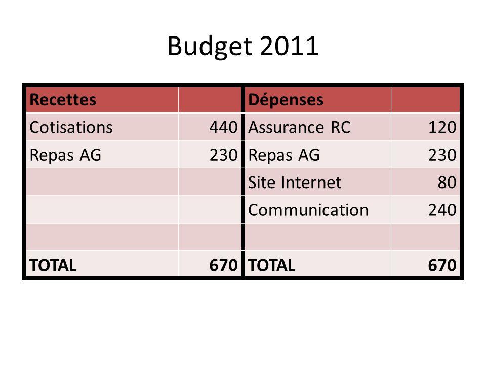 Résultat 2010 Solde au 31/12/2009719,04 Dépenses 2010482,45 Recettes 2010690,00 Solde au 31/12/2010926,59
