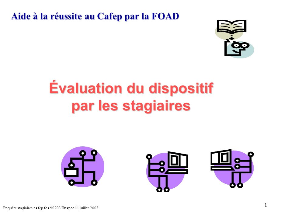 1 Aide à la réussite au Cafep par la FOAD Évaluation du dispositif par les stagiaires Enquête stagiaires cafep foad 0203 Unapec 11 juillet 2003