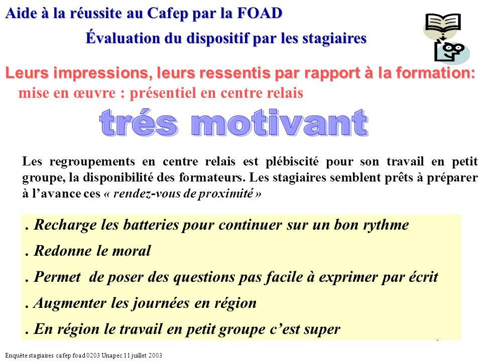 9 Aide à la réussite au Cafep par la FOAD Évaluation du dispositif par les stagiaires Leurs impressions, leurs ressentis par rapport à la formation: mise en œuvre : présentiel en centre relais.