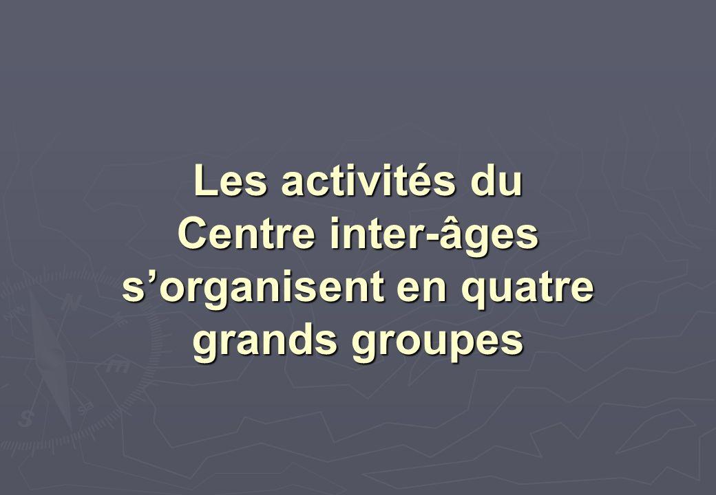 Les activités du Centre inter-âges sorganisent en quatre grands groupes