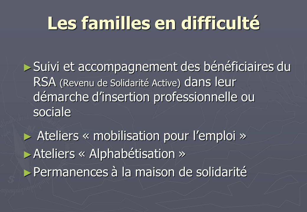 Les familles en difficulté Suivi et accompagnement des bénéficiaires du RSA (Revenu de Solidarité Active) dans leur démarche dinsertion professionnell