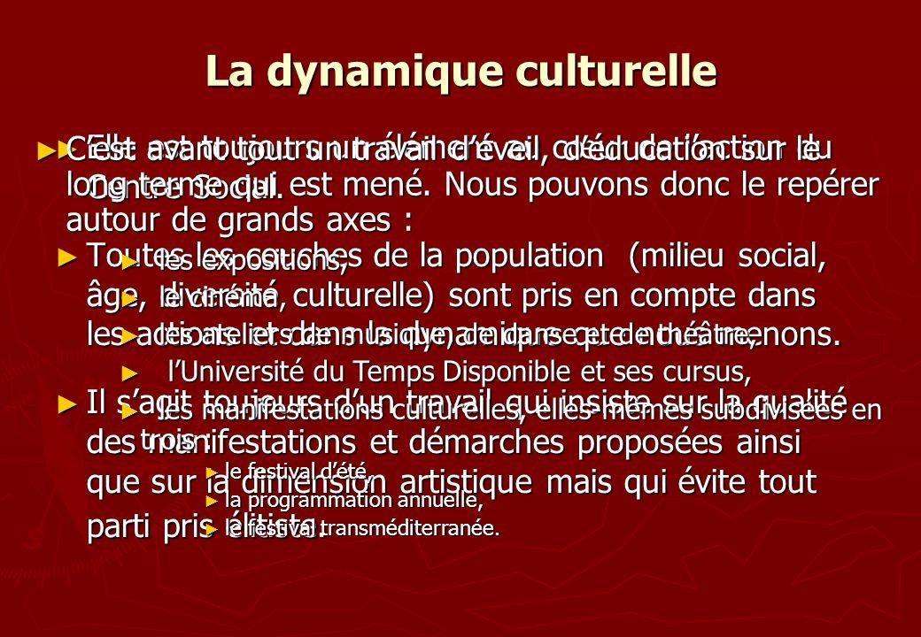 La dynamique culturelle Elle est toujours un élément au cœur de laction du Centre Social. Elle est toujours un élément au cœur de laction du Centre So