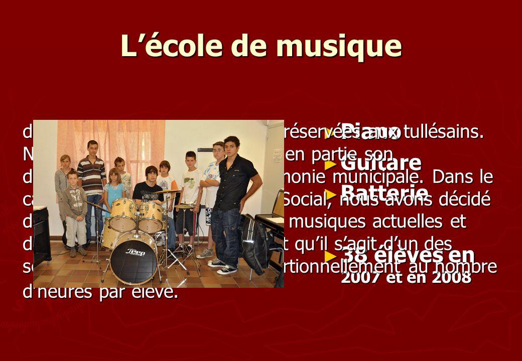Lécole de musique Piano Piano Guitare Guitare Batterie Batterie 38 élèves en 2007 et en 2008 38 élèves en 2007 et en 2008 dont les places sont limitée