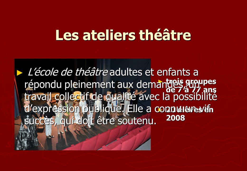 Les ateliers théâtre trois groupes de 7 à 77 ans trois groupes de 7 à 77 ans 20 élèves en 2008 20 élèves en 2008 Lécole de théâtre adultes et enfants
