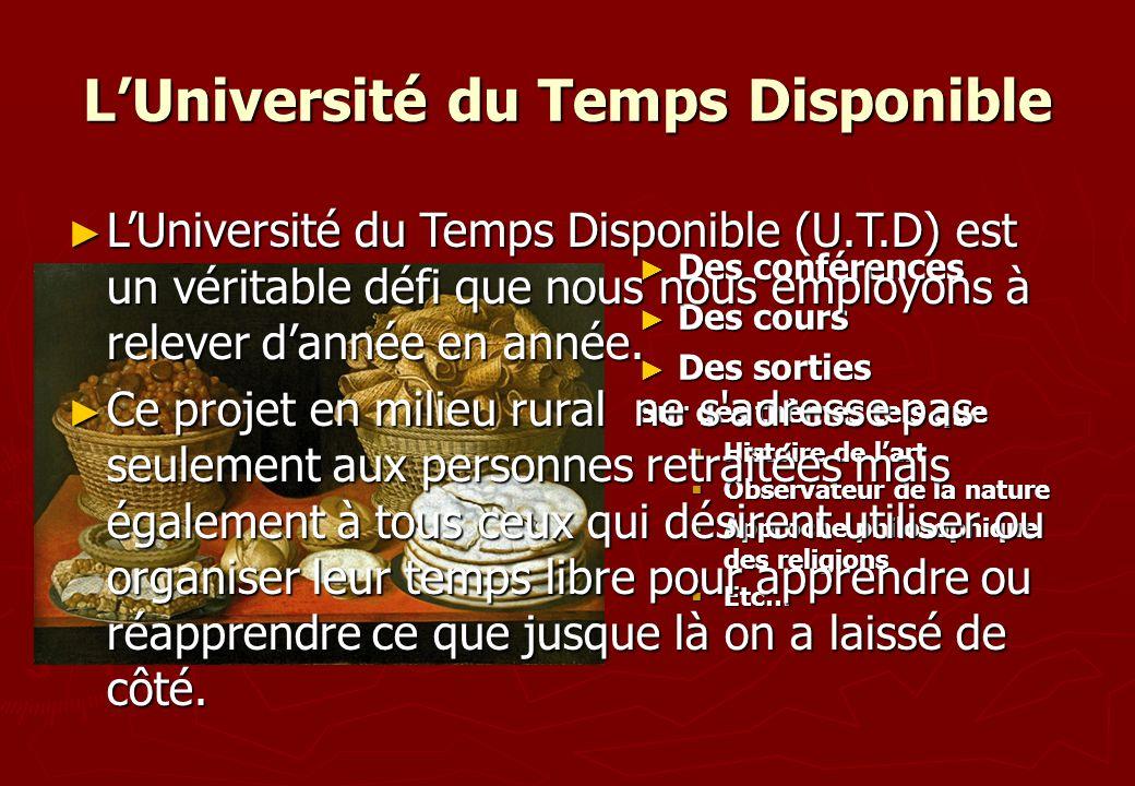 LUniversité du Temps Disponible Des conférences Des conférences Des cours Des cours Des sorties Des sorties Sur des thèmes tels que Histoire de lart H
