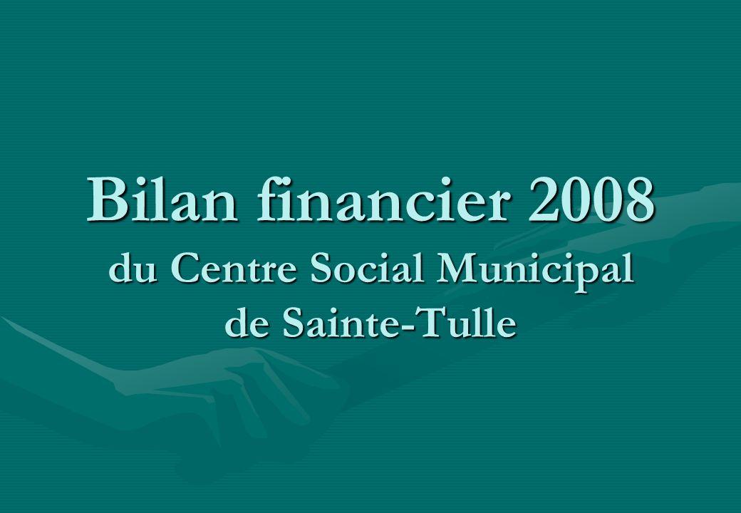 Bilan financier 2008 du Centre Social Municipal de Sainte-Tulle